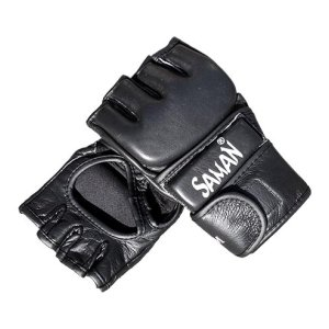 Manusi MMA , Saman, Grappling, piele,  negru, S méret