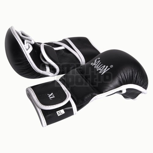 Manusi MMA, Saman, Sparring, piele, negru/alb