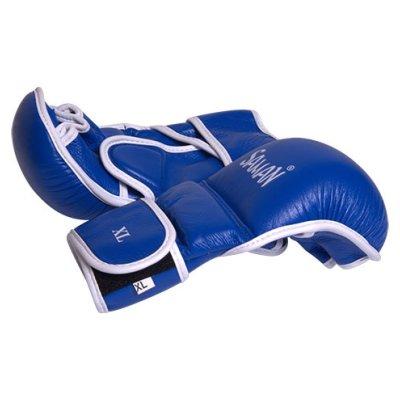Manusi MMA, Saman, Sparring, piele, albastru/alb