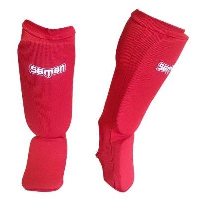 Protectie de tibie cu botosei, Saman, elastic, din burete, rosu