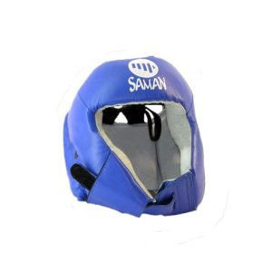 Casca protectie Saman CONTEST, fara protectie de fata, din piele, albastra, M méret