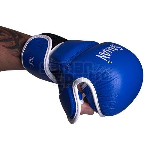 Manusi MMA, Saman, Sparring, piele, albastru/alb, M méret
