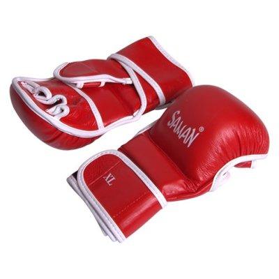 Manusi MMA, Saman, Sparring, piele, rosu/alb